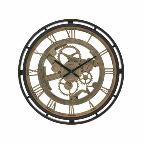 Inart Ρολόι Τοίχου Καφέ,Χρυσό    Πλαστικό 50x3x50 cm
