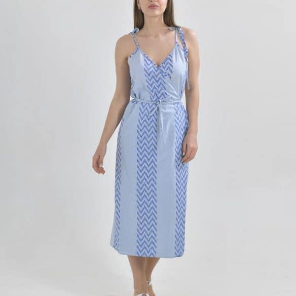 Inart Midi Φόρεμα Μπλε,Ασήμι   Βαμβάκι
