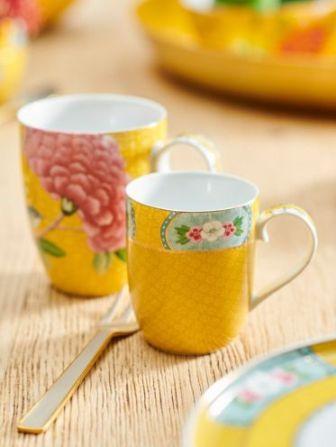 Σετ 2 Κούπες Πορσελάνης Pip Studio Blushing Birds Yellow 350ml