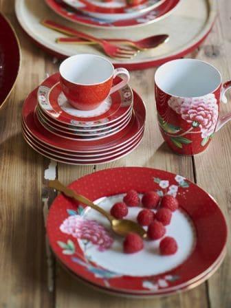 Πιάτο Πρωϊνού Πορσελάνης Pip Studio Blushing Birds Red 21cm
