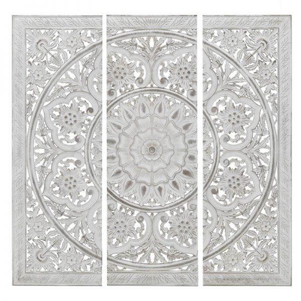 Inart Διακοσμητικό Τοίχου Σετ Των 3 Λευκό-Ελεφαντόδοντο