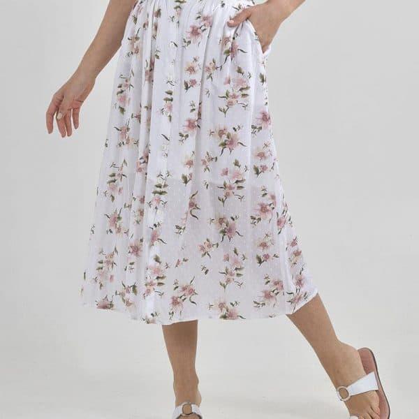Inart Φούστα Με Σχέδια Ροζ-Μωβ,Φυσικό μπεζ   Βισκόζη