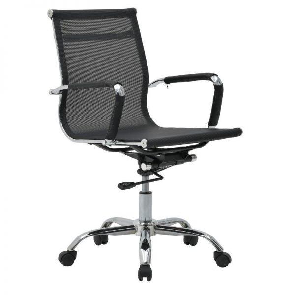 Inart Καρέκλα Γραφείου Μαύρο Σίδερο  Συνθετικό / ΠΟΛΥΕΣΤΕΡ Πλαστικό 56x64x94 cm