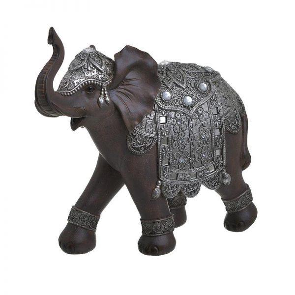 Inart Διακοσμητικός Ελέφαντας Ασήμι,Καφέ    Πολυρεσίνη 25x10x24 cm