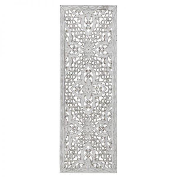 Inart Διακοσμητικό Τοίχου Λευκό-Ελεφαντόδοντο 30x2x90 cm