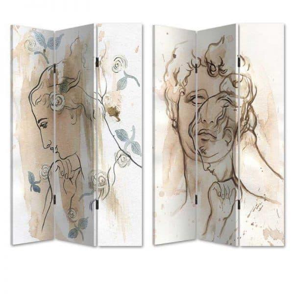 Inart Παραβάν 2 Όψεων   Birch Καμβάς 120x3x180 cm