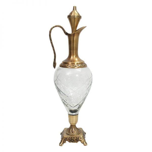 Inart Διακοσμητική Καράφα Διαφανές,Χρυσό Σίδερο   Γυαλί 13x13x50 cm