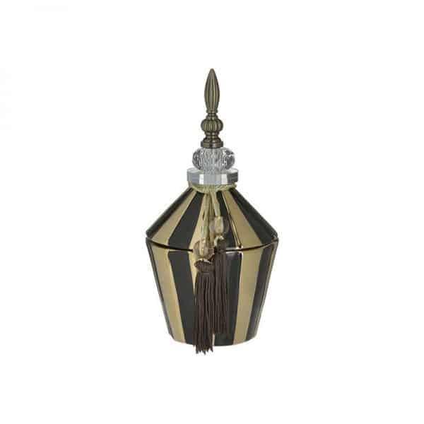 Inart Δοχείο Με Καπάκι Μαύρο,Χρυσό Σίδερο  Συνθετικό / ΠΟΛΥΕΣΤΕΡ Κεραμικό 13x13x27 cm