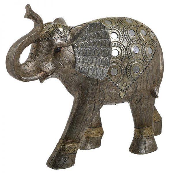 Inart Διακοσμητικός Ελέφαντας Χρυσό,Φυσικό μπεζ    Πολυρεσίνη 32x13x28 cm