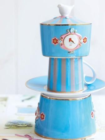 Ζαχαριέρα Πορσελάνης Pip Studio Love Birds Medallion Blue-Khaki 300ml