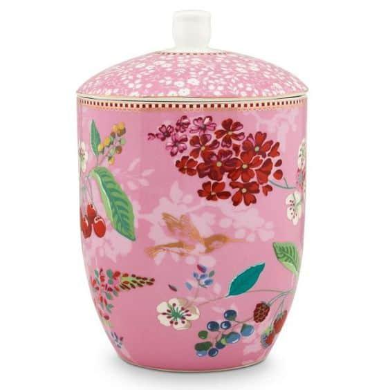 Βάζο Αποθήκευσης Πορσελάνης Pip Studio Hummingbirds Pink 1,5Ltr