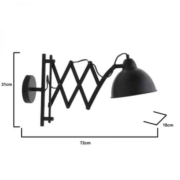 Inart Φωτιστικό Οροφής  Μαύρο Σίδερο 50x18x31 cm