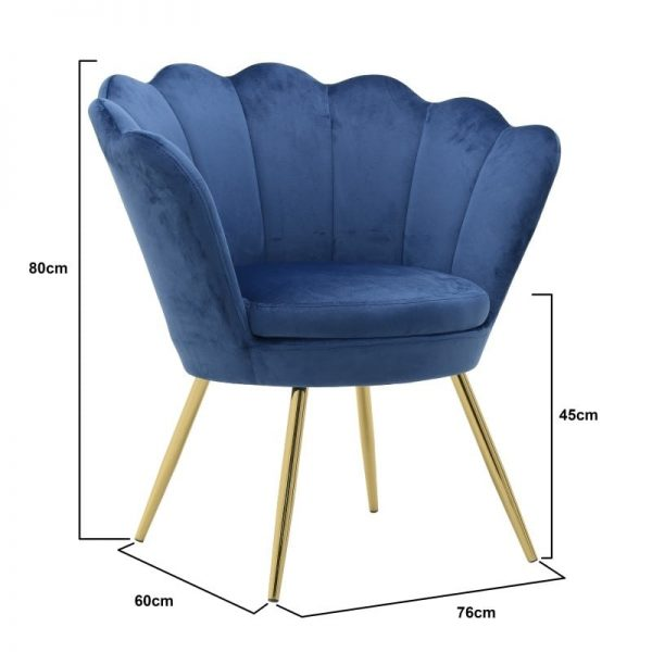 Inart Βελούδινη Πολυθρόνα Μπλε Σίδερο  Συνθετικό / ΠΟΛΥΕΣΤΕΡ 76x62x83 cm