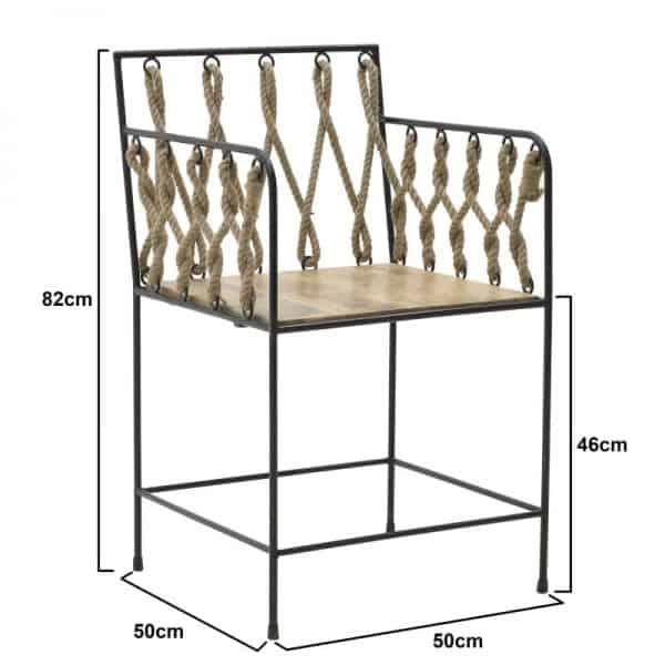 Inart Καρέκλα Φυσικό μπεζ,Μαύρο Σίδερο 50x50x82 cm