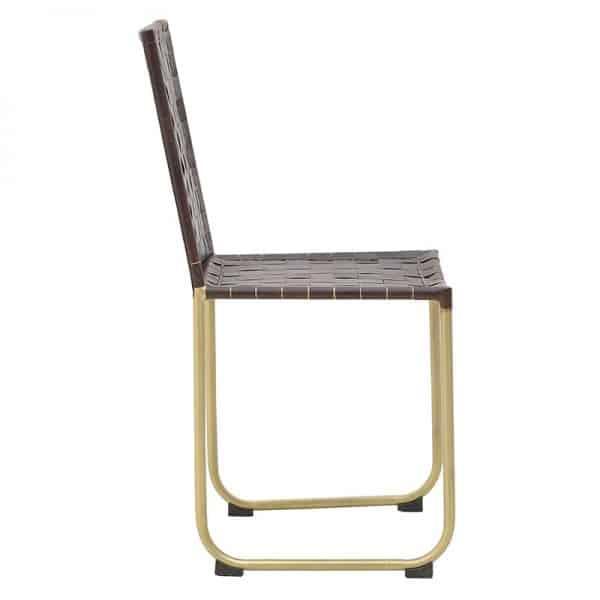 Inart Καρέκλα Καφέ,Χρυσό Σίδερο  PU 45x43x86 cm