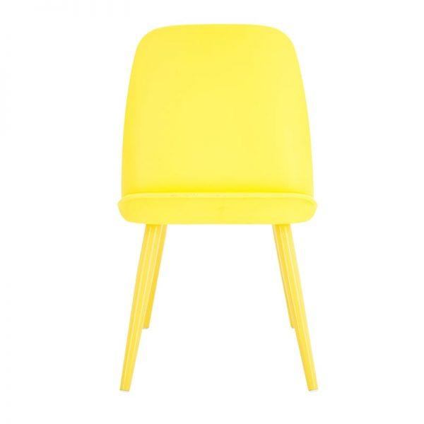 Inart Καρέκλα Τραπεζαρίας Κίτρινο-πορτοκαλί  Birch  Πλαστικό 56x53x70 cm