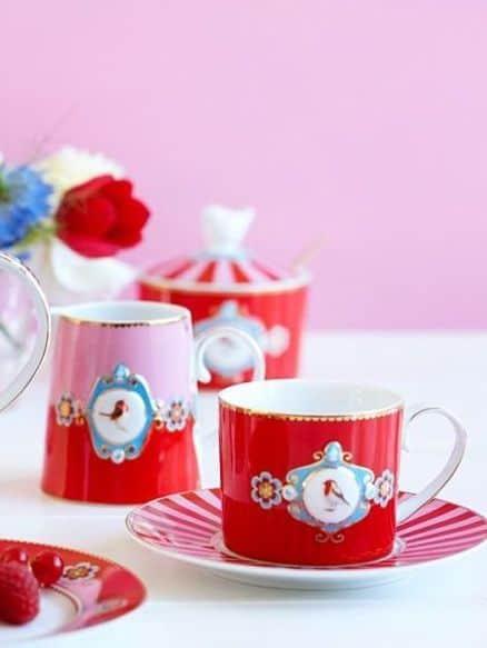 Ζαχαριέρα Πορσελάνης Pip Studio Love Birds Medallion Red-Pink 300ml