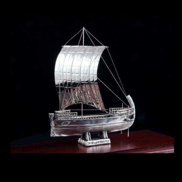 Ασημένια Μινιατούρα Πλοίο της Κυρήνειας 37x14x29cm