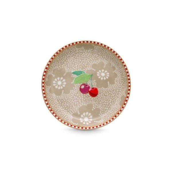 Μικρό Πιατάκι Τσαγιού Πορσελάνης Pip Studio Dotted Flower Khaki 9cm