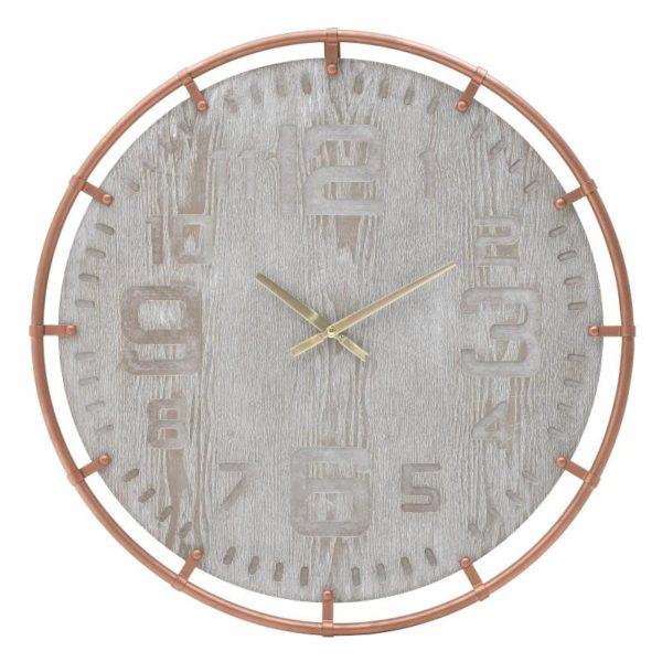 Inart Ρολόι Τοίχου Μέντα Σίδερο MDF 60x60x5 cm
