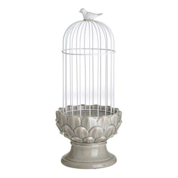 Inart Κηροπήγιο/Κλουβί Φυσικό μπεζ,Λευκό-Ελεφαντόδοντο Σίδερο   Κεραμικό 16x16x38 cm