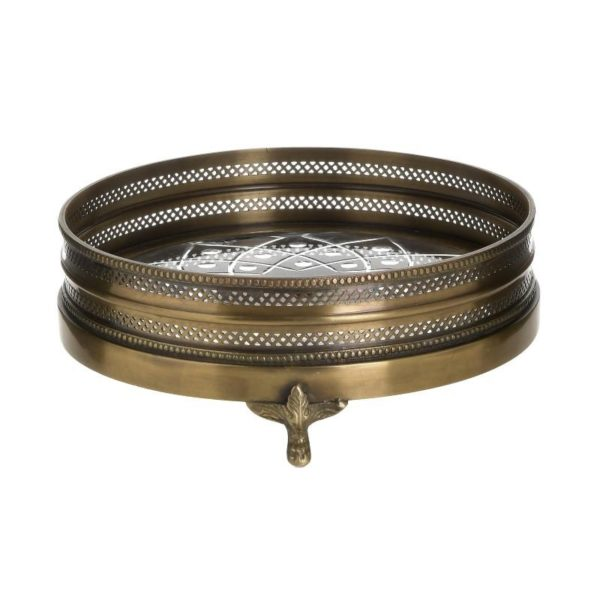 Inart Δίσκος Γκρί,Χρυσό Σίδερο   Γυαλί 27x27x8 cm