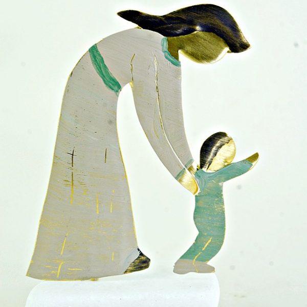 Χειροποίητο Αγαλματάκι Μητέρα με το Παιδί από Ορείχαλκο 6x9 cm