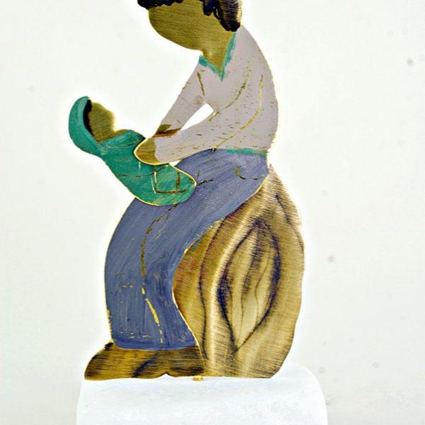 Χειροποίητο Αγαλματάκι Πατέρας με το Παιδί από Ορείχαλκο 5x10 cm
