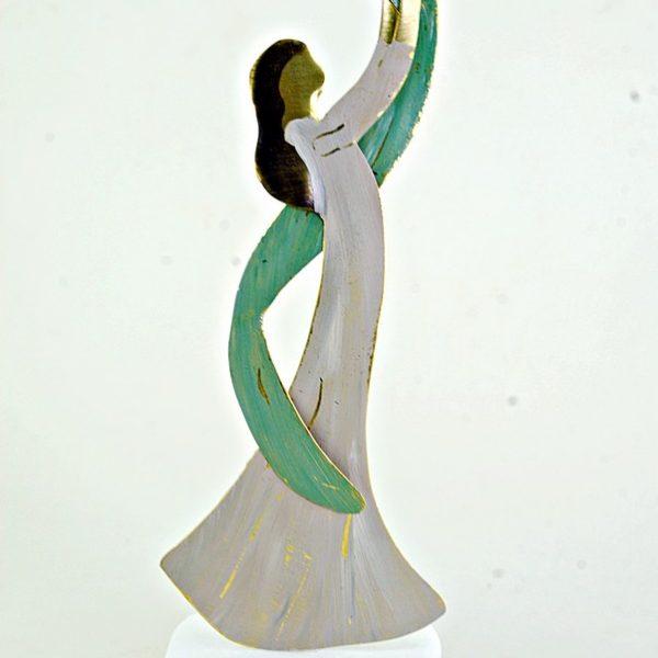 Χειροποίητο Αγαλματάκι Μητέρα με Μωρό από Ορείχαλκο 5x14 cm