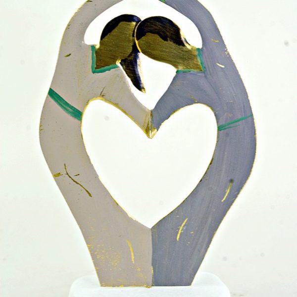 Χειροποίητο Αγαλματάκι Ζευγάρι Καρδιά από Ορείχαλκο 7,5x12 cm