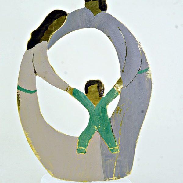 Χειροποίητο Αγαλματάκι Οικογένεια από Ορείχαλκο 8,5x12 cm