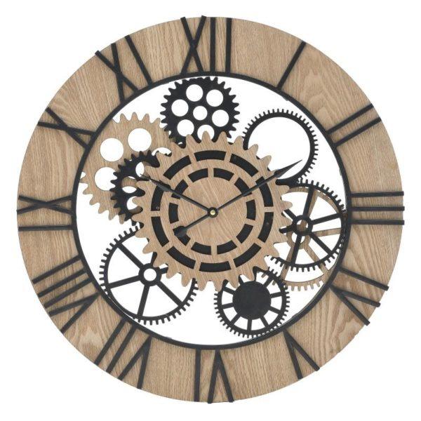 Inart Ρολόι Τοίχου Φυσικό μπεζ,Μαύρο Σίδερο MDF 60x60x5 cm