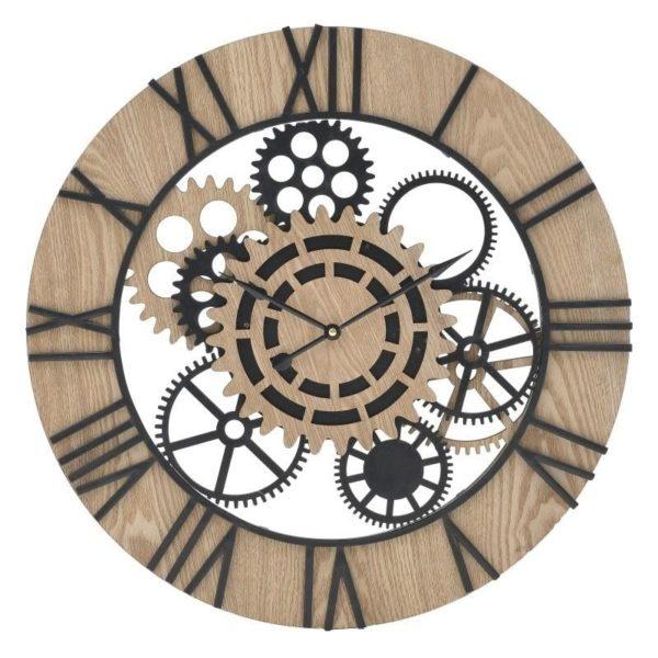 Ρολόι Τοίχου Ξύλινο/Μεταλλικό Μαύρο/Καφέ 60x60x5 cm