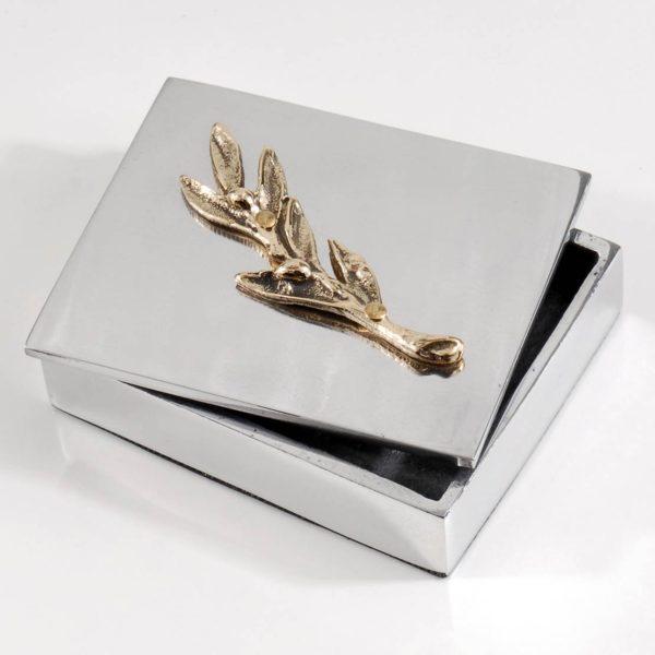 Διακοσμητικό Κουτί Λείο με Κλαδάκι Ελιάς από Αλουμίνιο και Ορείχαλκο 9,8x8x3 cm