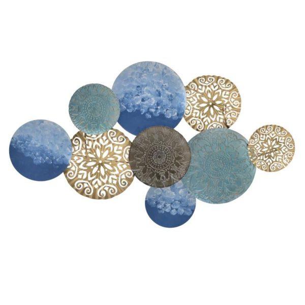 Inart Διακοσμητικό Τοίχου Χρυσό,Μπλε Σίδερο 110x6x63 cm