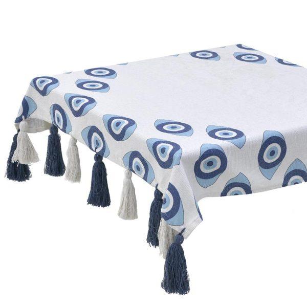 Inart Καρές 110X110 Μπλε,Λευκό-Ελεφαντόδοντο   Βαμβάκι