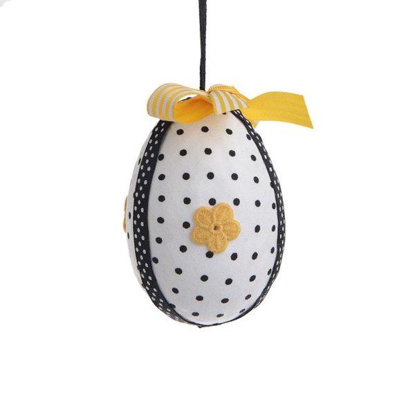 Inart Αυγό Σετ Των 6 Ασπρόμαύρο,Κίτρινο-πορτοκαλί   Συνθετικό / ΠΟΛΥΕΣΤΕΡ 7x7x8 cm