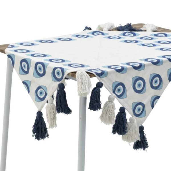 Inart Τραβέρσα 40Χ140 Λευκό-Ελεφαντόδοντο,Μπλε   Βαμβάκι