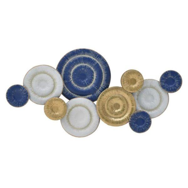 Inart Διακοσμητικό Τοίχου Χρυσό,Μπλε Σίδερο 100x6x50 cm