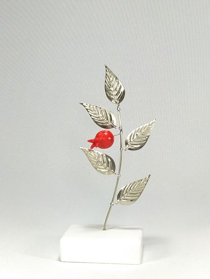 Χειροποίητο Κλαδάκι με 1 Ρόδι από Αλπακά 17 cm