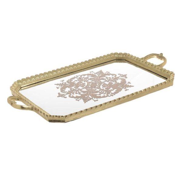 Inart Δίσκος Χρυσό    Γυαλί,Πολυρεσίνη 56x4x30 cm
