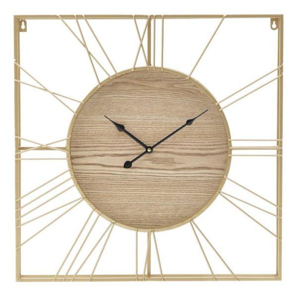 Inart Ρολόι Τοίχου Φυσικό μπεζ,Χρυσό Σίδερο MDF 50x5x50 cm