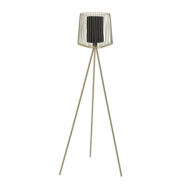 Inart Επιδαπέδιο Φωτιστικό Μαύρο,Χρυσό Σίδερο  Συνθετικό / ΠΟΛΥΕΣΤΕΡ 63x57x133 cm
