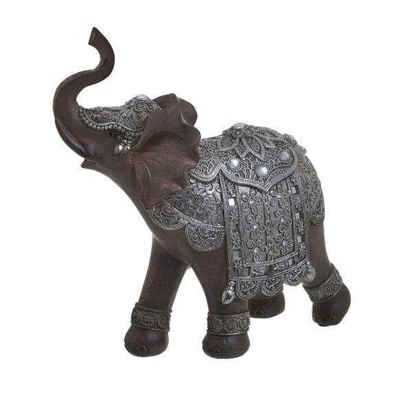 Inart Διακοσμητικός Ελέφαντας Ασήμι,Καφέ    Πολυρεσίνη 20x9x24 cm
