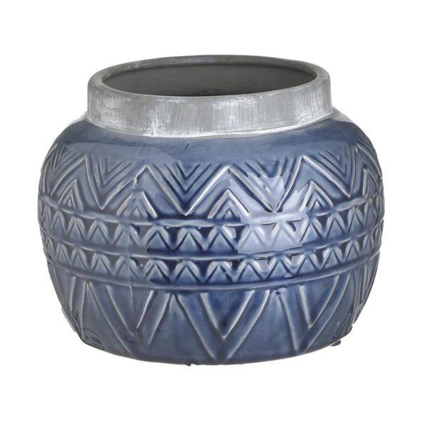 Inart Βάζο Μπλε    Κεραμικό 20x20x16 cm