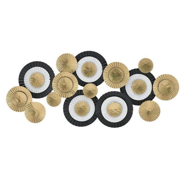 Inart Διακοσμητικό Τοίχου Χρυσό,Μαύρο,Λευκό-Ελεφαντόδοντο Σίδερο 105x5x47 cm