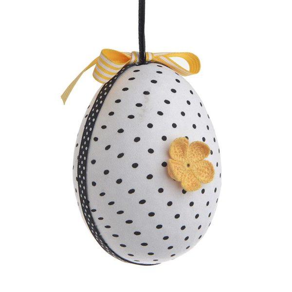 Inart Αυγό Σετ Των 6 Ασπρόμαύρο,Κίτρινο-πορτοκαλί   Συνθετικό / ΠΟΛΥΕΣΤΕΡ 9x9x9 cm
