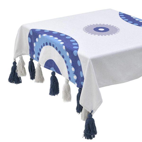 Inart Καρές 120X120 Μπλε,Λευκό-Ελεφαντόδοντο   Βαμβάκι