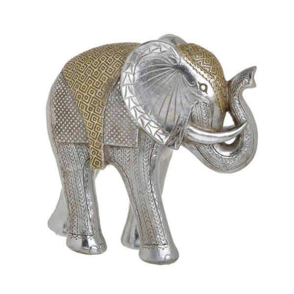 Inart Διακοσμητικός Ελέφαντας Ασήμι,Χρυσό    Πολυρεσίνη 24x9x23 cm