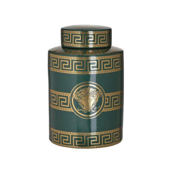 Inart Βάζο Πράσινο,Χρυσό    Κεραμικό 18x18x27 cm